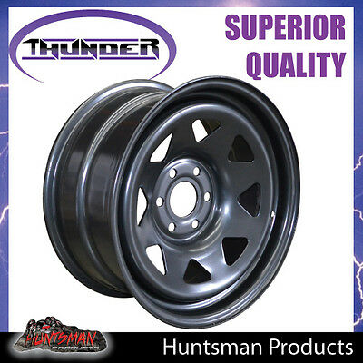 16X8 Sunraysia 6/114.3 PCD +20 Black Thunder Steel Wheel Rim Navara D40 NP300