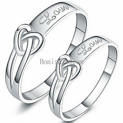 "Silver Tone Infinity Heart Knot "" Love "" Promise Engagement Ring Mens Ladies"