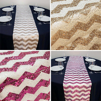 "2 Dozen TABLE RUNNERS 14""x108"" SEQUINS CHEVRON Wedding Party Wholesale Linens"