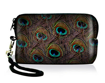 Peacock Feathers Digital Camera Cellphone ipod iPhone Case Bag Pouch w/Strap