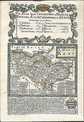 Antique map, Kent / The Roads from Chelmsford to St. Edmunds Bury &c.