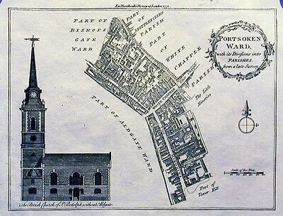 Antique map, Portsoken Ward, with its divisions into Parishes