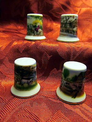 Rare!! Set/4 Collectible Thimbles Beautiful Country Scenes Japan Plus Surprise!
