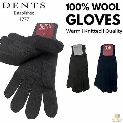100% WOOL GLOVES Winter Snow Ski Plain Knit Knitted Warm MK341 Plain New Colours