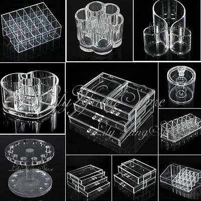 CLEAR ACRYLIC HOLDER COSMETIC MAKEUP LIPSTICK JEWELRY DISPLAY STORAGE ORGANIZER