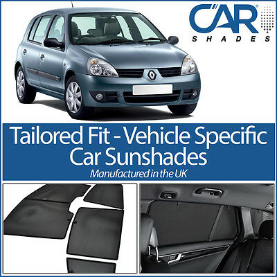 Renault CLIO 5dr 98-05 UV CAR SHADES WINDOW SUN BLINDS PRIVACY GLASS TINT BLACK