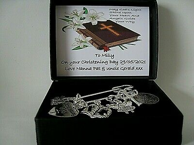 Personalised Christening Baptism Gift  Lucky Sixpence Keepsake  Six Charms Boxed