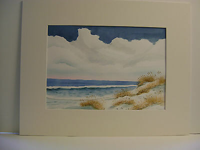 Original Watercolor Painting Autumn Oats With Ocean And Waves And Sand Dunes