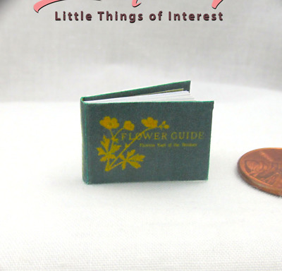 FLOWER GUIDE Miniature Book Dollhouse 1:12 Scale Readable Illustrated Book