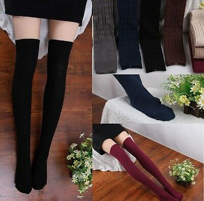 Fashion Women Knit Cotton Over Knee Thigh Stockings Pantyhose Tights High Socks