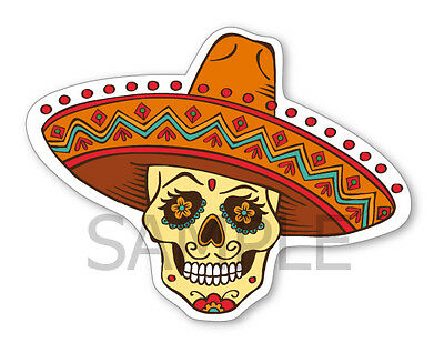 """Mexican Sugar Skull Decal -  Day of the Dead Sticker - Size 4"""" x 5"""" NEW"""
