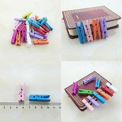 50Pcs Wholesale Wooden Multicolor Mini Pegs Spring Clamp Style Hook 35MM