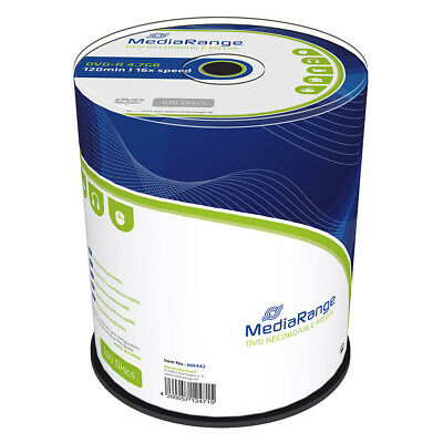 100 MediaRange DVD-R 4,7GB 16X Cake Vergini MR442 + 1 cd verbatim