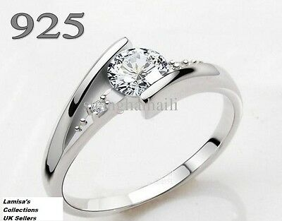Diamond Ring 925 Silver Size I to U.