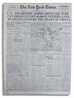 4/10/45 NY Times U.S. and British Armies Drive For Elbe