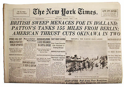 NY Times 4/3/45 Patton's Tanks 155 Miles From Berlin