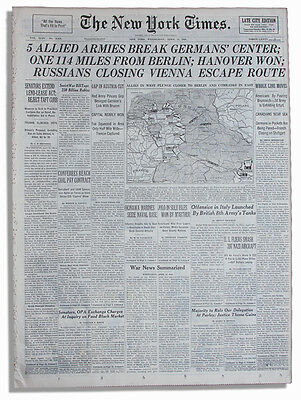 4/11/45 NY Times 5 Allied Armies Break German's Center
