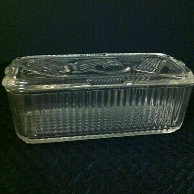 Vintage Federal Glass Ribbed Refrigerator Dish