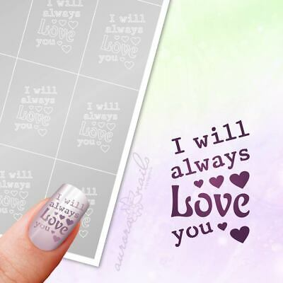 Airbrush klebe Schablonen -TX085- NAILART I will always love you Text Wörter 20x