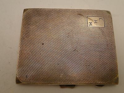 Engine Turn Art Deco Cigarette Case, Sterling Silver, Birmingham 1936 Engraved