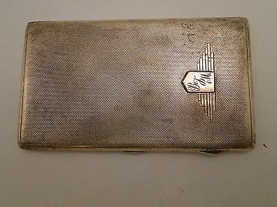 Art Deco Cigarette Case Sterling Silver 1943, Engine Turn, Nice Shield Engraved