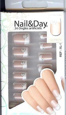 24 FAUX-ONGLES +COLLE - FRENCH MANUCURE - NAIL ART - Réf/XL.1 MODELITE(V.SCAN)