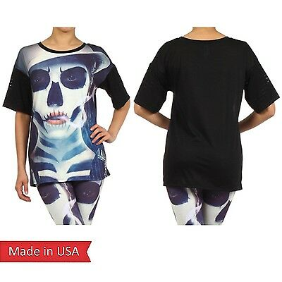 Halloween Joker Goth Emo Punk Skull Face Spooky Print Halloween Top T Shirt USA