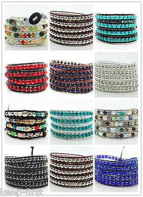 Colorful New Handmade Mixed Crystal Gems Bead Wrap Leather Bracelet Pick