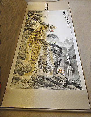 """Artist Original Tiger on the Mountain Chinese ink Painting 41x93""""  silk mounted"""
