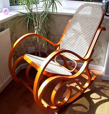 Brand New Honey Bentwood Rattan Maternity Rocking Chair - Baby Nursing & Feeding