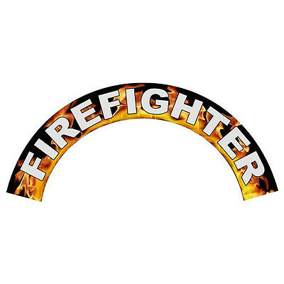 Firefighter in Flames Helmet Crescent Reflective Decal Sticker