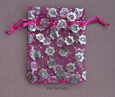 10 x Organza Bag Hot Pink Printed with Silver Flowers 8.5cm x 6.5cm