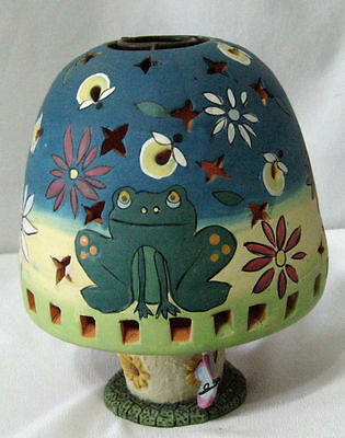 """Candle Holder/Multi Colored/Frogs & Butterflies/7"""""""