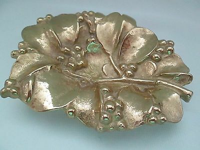 Virginia Metal Crafters Mistletoe Leaf  Small Tray 4-36 design 1956 Solid Brass