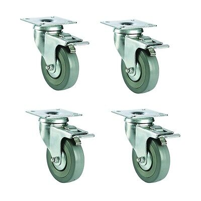 4 Pc of 75mm Swivel Casters Wheels W/ Top Plate Lock Brakes 440lb Total Capacity