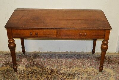 Antique Solid Quarter Sawn  Oak School Masters Desk Wall Table Hand Tooled