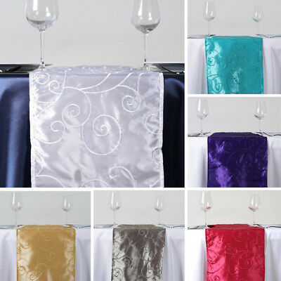 """10 pcs TABLE RUNNERS 12x108"""" Embroidered TAFFETA Wedding Party Catering Linens"""