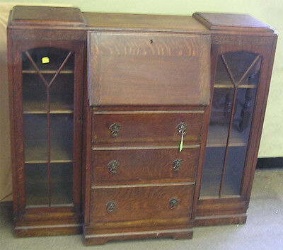 Oak Drop Front Side by Side Bookcase Secretary