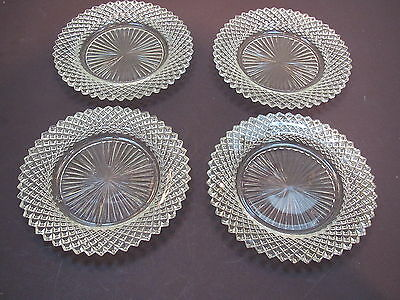 "1930's Hocking Glass Miss America crystal 4-5 3/4"" D B&B plates-excond"