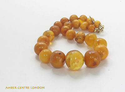 German Amber Rare Antique Milky Egg Yolk Beaded Necklace  A0067 RRP£2950!!!
