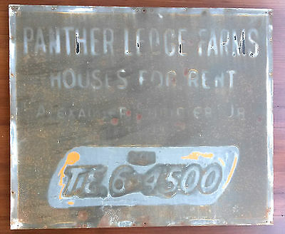"Antique  PA  Metal  ""Panther Lodge Farms Houses For Rent"" Sign,  Original Paint"