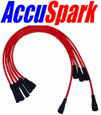 Ford Pinto Genuine AccuSpark RED 8mm Performance Silicon HT Leads