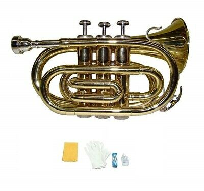 NEW Green / Silver Pocket Trumpet Band Student Beginner Intermediate Gift