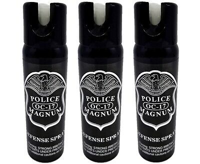 3 PACK Police Magnum pepper spray 4oz GID Safety Lock Self Defense Protection