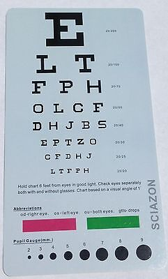 Medical Snellen / Rosenbaum Pocket Eye Exam Test Chart