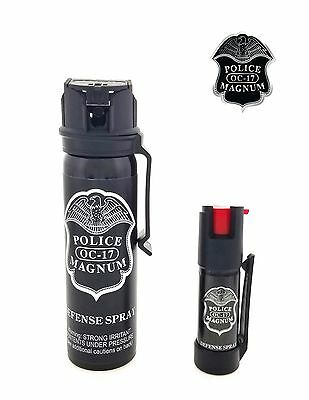POLICE MAGNUM Pepper Spray 4 oz Ounce Safety Flip Top Belt Clip FREE 1/2oz Spray