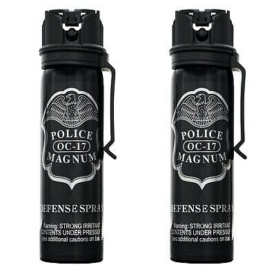 2 PACK Police Magnum pepper spray 4oz Flip Top Belt Clip Self Defense Protection