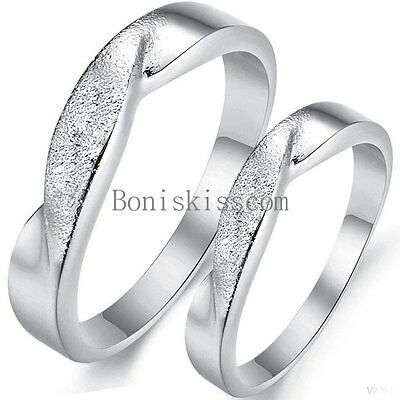 Matte & Polished Silver Tone Infinity Love Promise Engagement Ring Wedding Band