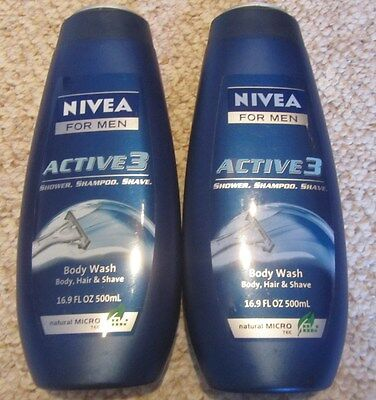 Lot of 2 Nivea For Men Active 3 Body, Hair & Shave Body Wash Microtec,16.9oz NEW