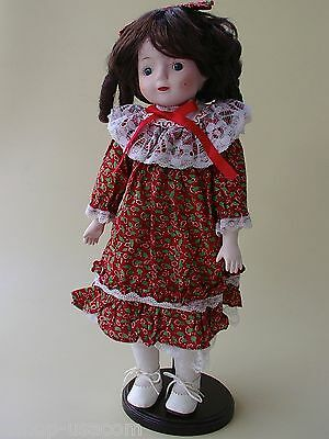 Collectible Vintage Show Stoppers Inc Porcelain Doll Red Country Dress